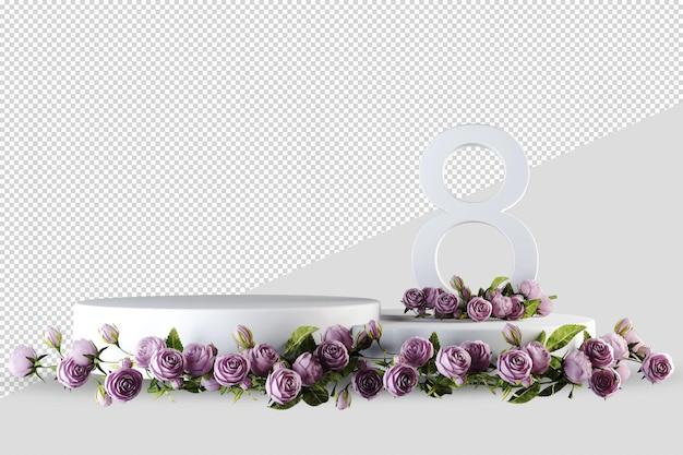 Podium nowoczesny wyświetlacz produktu z różami w renderowaniu 3d na białym tle