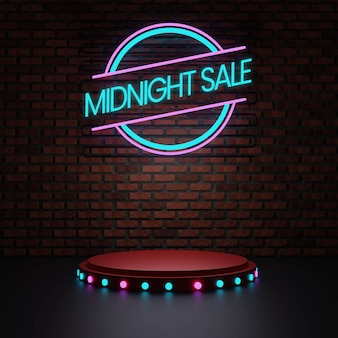Podium o północy z neonem i ceglaną ścianą