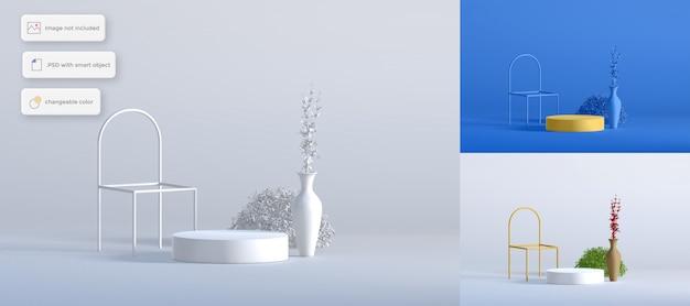 Podium z krzesłem na ramie i roślinami