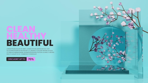 Podium z naturalnego szkła z różami
