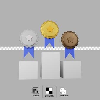 Podium zwycięzców renderowania 3d wraz z medalami