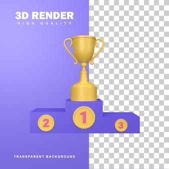Podium zwycięzców renderowania 3d z trofeum za pierwsze miejsce.