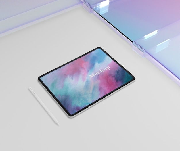 Podkładka na tablet z długopisem i przezroczystym szkłem