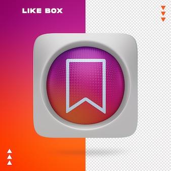Podobnie jak box of instagram w renderowaniu 3d na białym tle