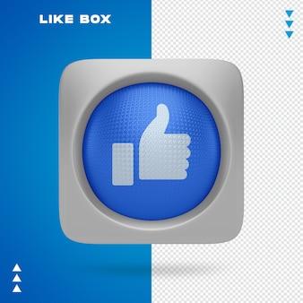 Podobnie jak w przypadku facebooka w pudełku w renderowaniu 3d na białym tle