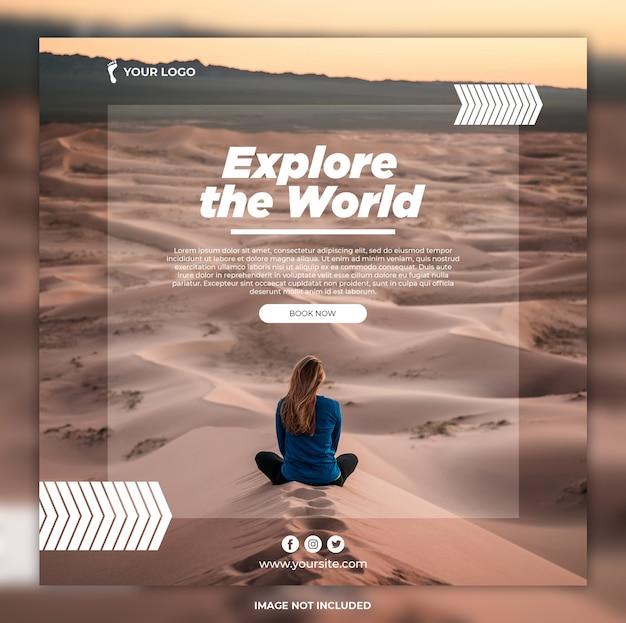 Podróż baner przygoda wycieczki instagram post lub kwadratowy szablon banner
