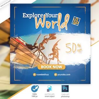 Podróż social media web banner ad