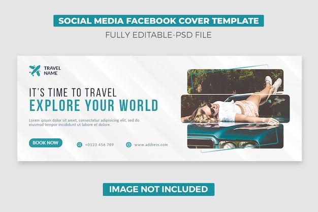 Podróż w mediach społecznościowych na osi czasu okładki szablonu banera ze zdjęciem