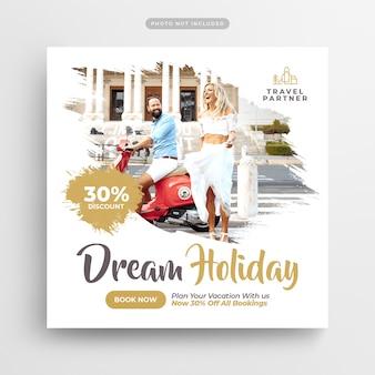 Podróż wakacje wakacje media społecznościowe post & web banner