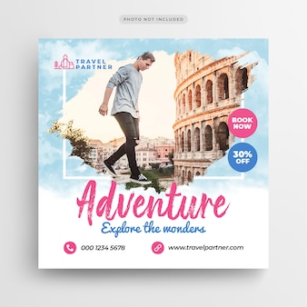 Podróż wakacje wakacje post banner lub square flyer