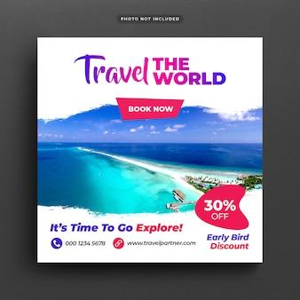 Podróż wakacje wakacje post banner lub szablon