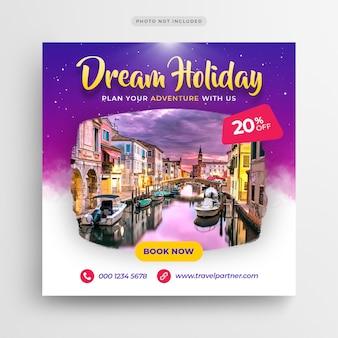 Podróż wakacje wakacje social media banner lub kwadratowy szablon ulotki