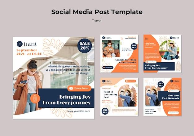 Podróżne szablony postów w mediach społecznościowych