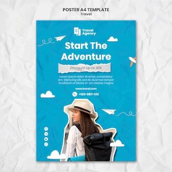 Podróżny pionowy plakat szablon ze zdjęciem