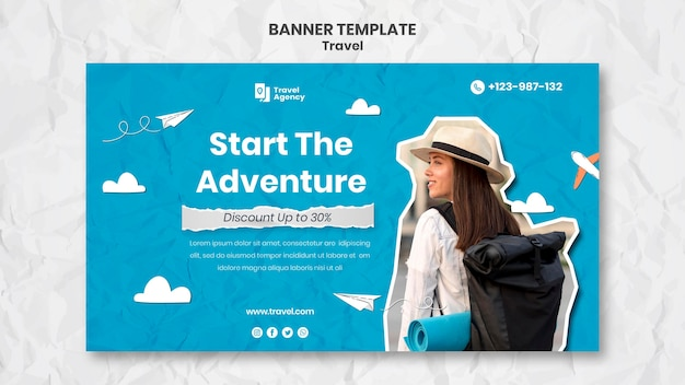 Podróżny szablon banera ze zdjęciem