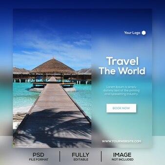 Podróżowanie szablon transparent mediów społecznościowych