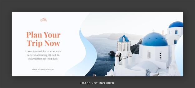 Podróżuj na facebooku okładce i szablonie projektu banera internetowego
