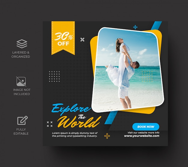 Podróżuj po mediach społecznościowych szablon transparentu lub zwiedzaj wakacje