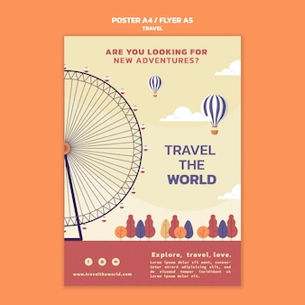 Podróżuj po świecie pionowym szablonem plakatu