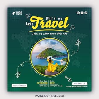 Podróżuj w mediach społecznościowych post na instagramie lub kwadratowy szablon banera internetowego