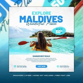 Podróżuj, wakacje, wakacje, odkrywaj malediwy, post w mediach społecznościowych, baner internetowy