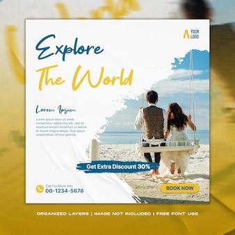 Podróżuj wakacje wakacje w mediach społecznościowych post baner internetowy