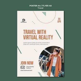 Podróżuj z szablonem plakatu rzeczywistości wirtualnej