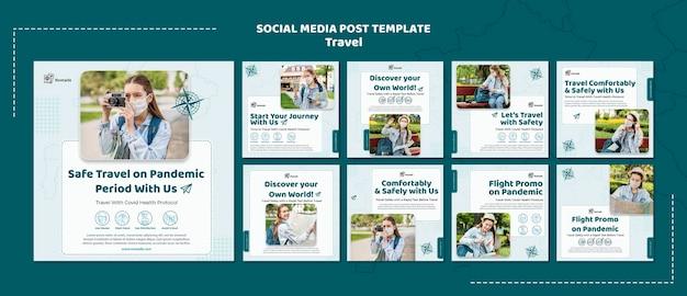 Podróżujący szablon postu w mediach społecznościowych