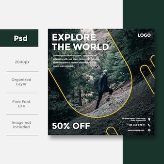 Podróży projektowanie banerów społecznościowych