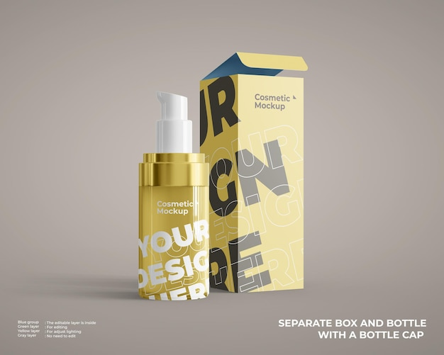 Podstawowa makieta butelki kosmetycznej z opakowaniem pudełkowym