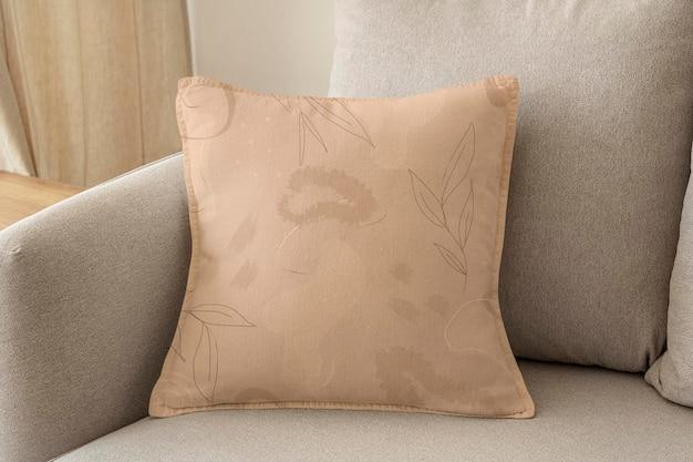 Poduszka poszewka na poduszkę makieta psd w kwiatowy wzór aranżacji wnętrz