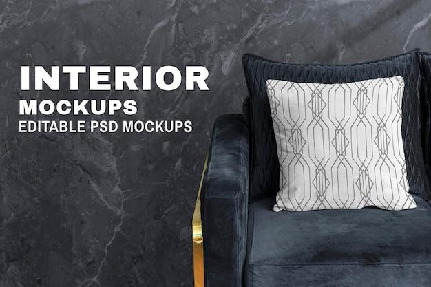 Poduszka poszewka na poduszkę makieta psd w stylu vintage art deco wzór wnętrza