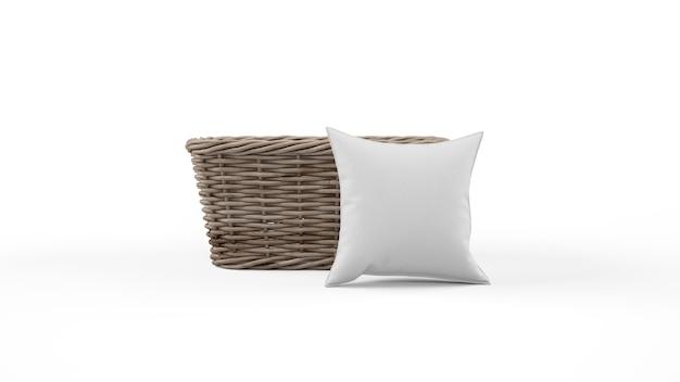 Poduszka w szarym kolorze i koszyk wiklinowy na białym tle