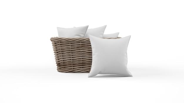 Poduszki w szarym kolorze i wiklinowym koszu na białym tle
