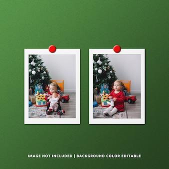 Podwójna papierowa ramka na zdjęcia makieta na boże narodzenie