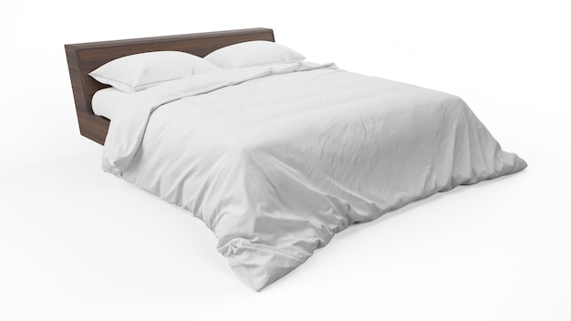 Podwójne łóżko z białą pościelą i kołdrą na białym tle