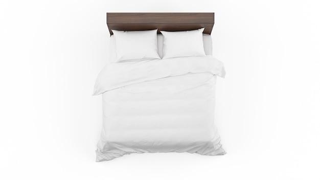 Podwójne łóżko z białą pościelą na białym tle, widok z góry