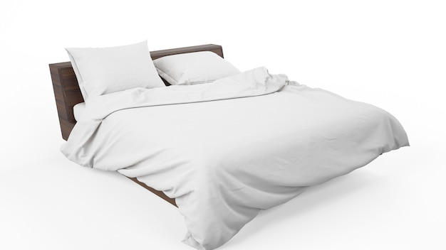 Podwójne łóżko z białą pościelą na białym tle