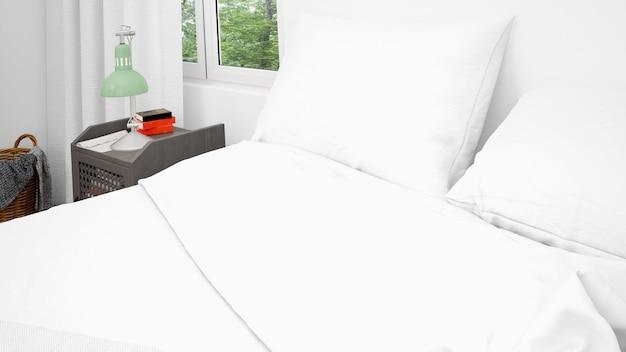 Podwójne łóżko z białymi poduszkami i pościelą, zbliżenie
