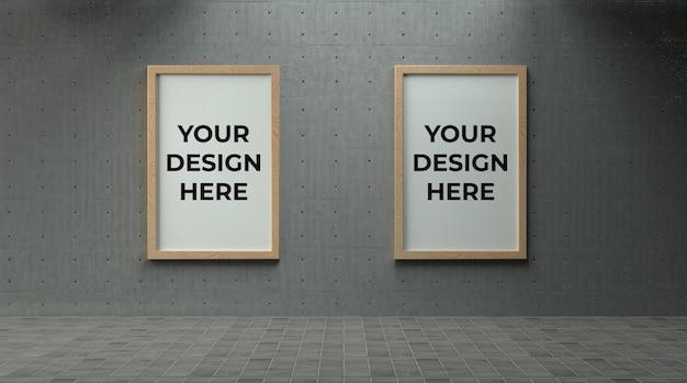 Podwójny drewniany plakat lub ramka na zdjęcia na betonowej ścianie z makietą środowiska przemysłowego