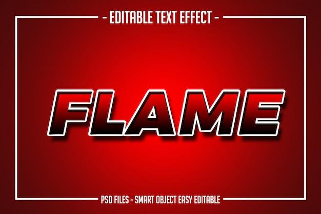 Pogrubiony czerwony płomień edytowalny styl czcionki