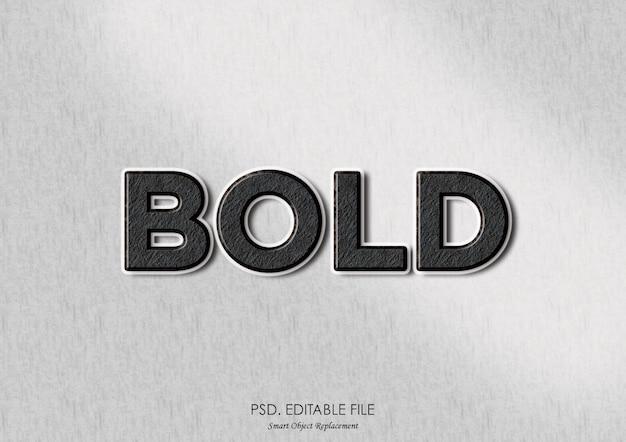 Pogrubiony tekst 3d efekt tekstury makieta