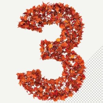 Pojedyncze jesienne liście 3d litera 3