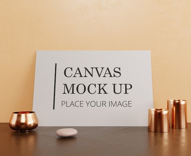 Pojedynczy obraz na płótnie, makieta na drewnianej podłodze ze złotymi ozdobami i kamienną ramą poziomą