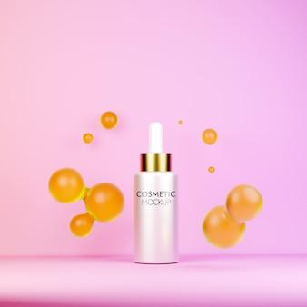 Pojemnik kosmetyczny z serum do twarzy z szablonem makiety olejków eterycznych