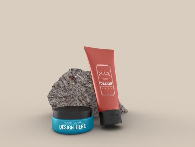 Pojemnik na krem kosmetyczny i tubka makieta na krem, balsam, serum, opakowanie na puste butelki do pielęgnacji skóry.