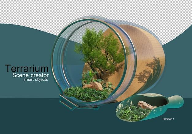 Pokaż efekty ułożenia drzew i krzewów w szklanej butelce