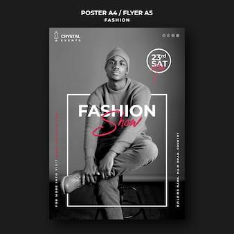 Pokaz mody plakat szablon męskiego modelu