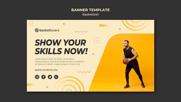 Pokaż swoje umiejętności szablon sieci web banner koszykówki