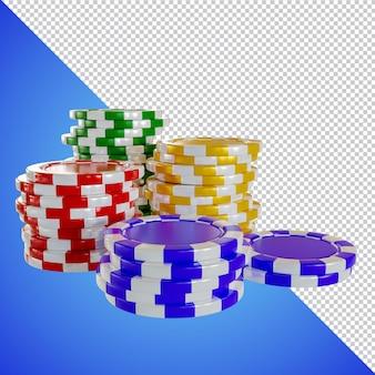 Poker chip 3d render na białym tle